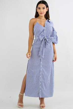 One Shoulder Button Up Dress