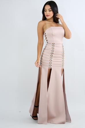 Tube Knuckle Slit Maxi Dress