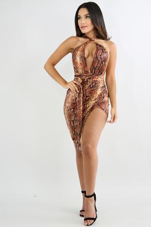 Wrap Around Snake Edgy Body-Con Dress
