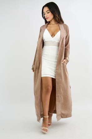 Silk Self Tie Trench Coat