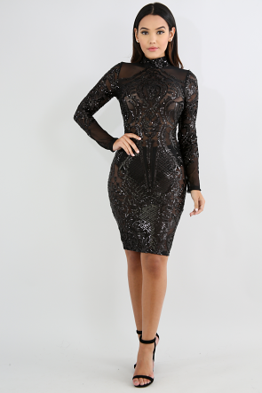 Sequin Mock Neck Sheer Body-Con Dress