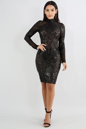Sequin Mock Neck Sheer Body-Con Dress