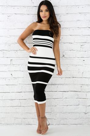 Rib Knit Tube Striped Body-Con Dress