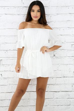 Off Shoulder Flary Mini Dress