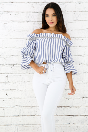 Pleated Striped Puff Top