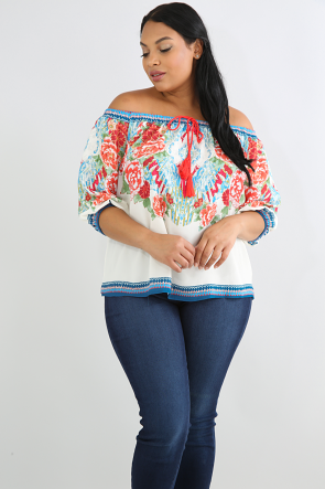 Smocked Floral Off Shoulder Top