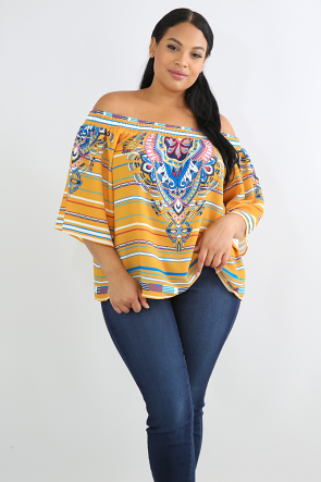 Smocked Aztec Striped Top