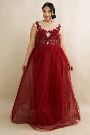 Crochet Tulle Maxi Dress