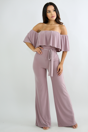 Bar-dot Tiered Ruffle Jumpsuit