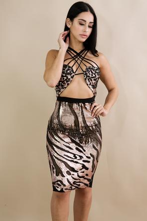 Sequin Tube Cross Dress