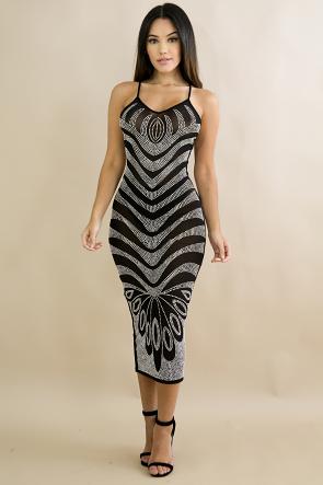 Rhinestone Waves Body-Con Dress