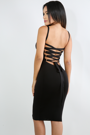 Cross Over Corset Body-Con Dress