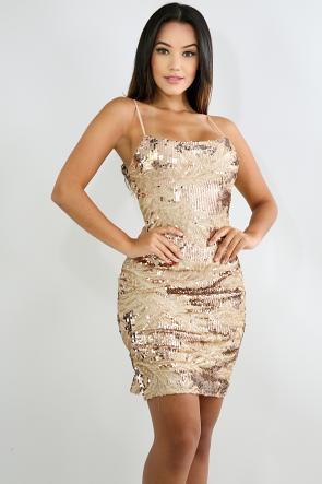 Sequin Slit Body-Con Dress