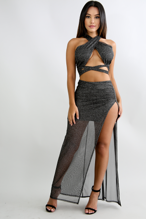 Twinkle Sheer Slit Skirt Set