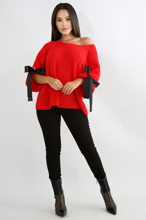 Bow Sleeve Knit Sweater Top