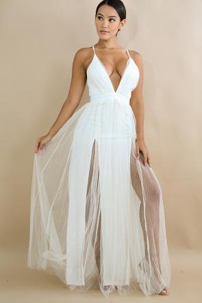 Maxi Dazzle Diamond Slit Dress