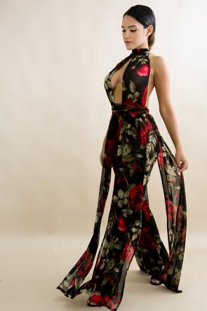 Sheer Floral Drape Jumpsuit