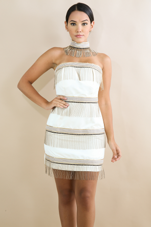 Beads Choker Body-Con Dress