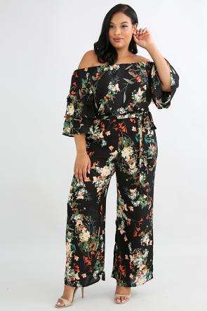 Sheer Chiffon Floral Pants Set