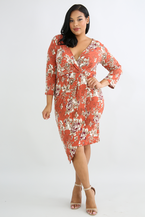 Floral Flannel Body-Con Dress
