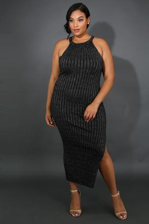 Rib Knit Shine Slit Midi Dress