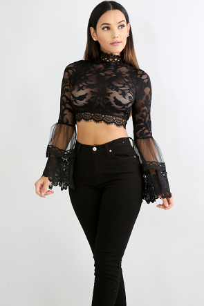 Tulle Lace Crop Top