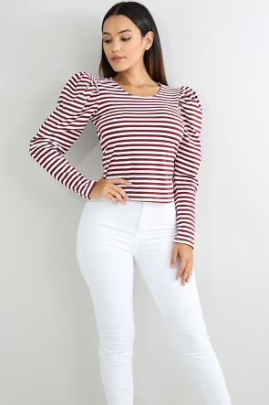 Striped Puff Top