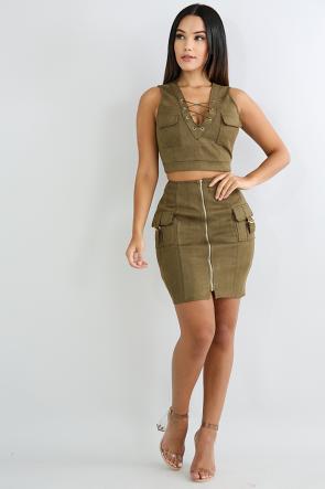 Faux Suede Skirt Set