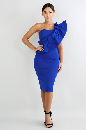 One Shoulder Pleated Body-Con Dress