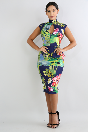 Tropical Floral Tail Midi Dress