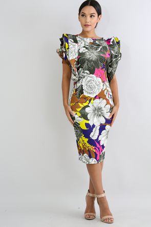 Rose Swirled Body-Con Dress