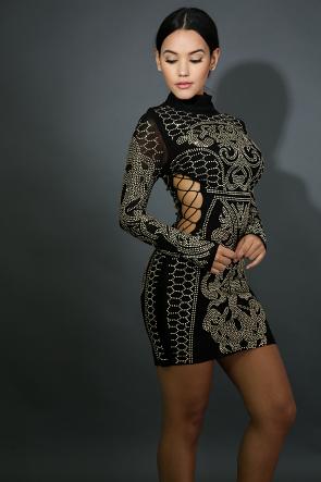 Lace Up Rhinestone Body-Con Dress
