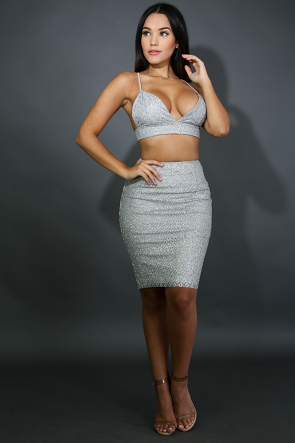 Glitter Diamond Skirt Set