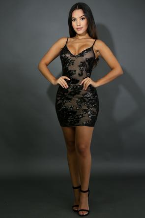 Sheer Sequin Cami Body-Con Dress