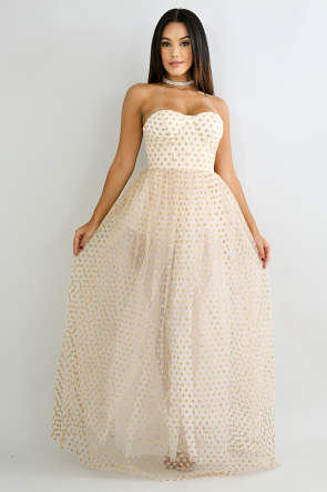 Princess Tube Polka Dot Maxi Dress