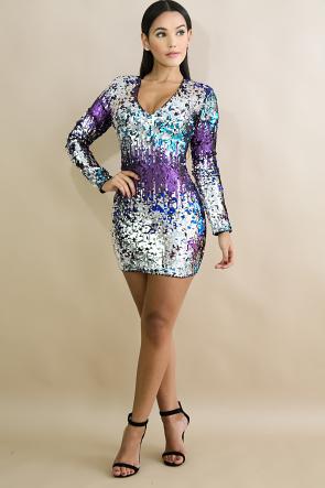Color Sequin Body-Con Dress