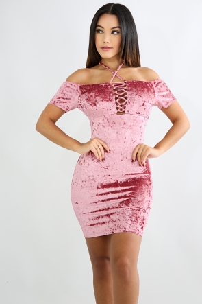 Suede Glam Body-Con Dress