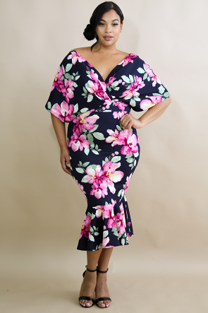 Floral Glam Body-Con Dress