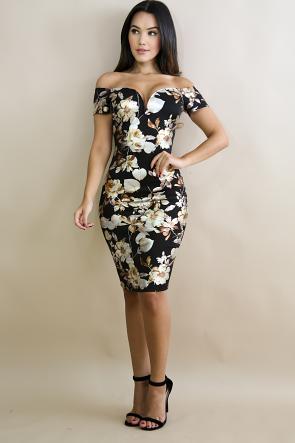 Golden Floral Body-Con Dress