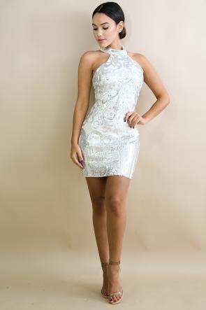 Mock Neck Sequin Body-Con Dress