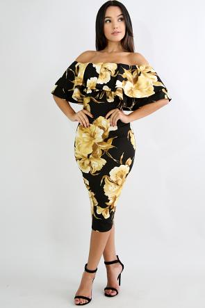 Golden Girl Flare Dress