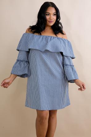 Striped Bar-Dot Flare Dress