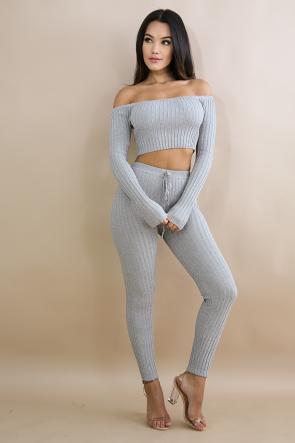 Rib Knit Striped Legging Set
