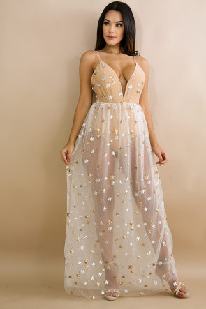 Sequin Stars Maxi Dress
