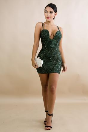 Mini Sequin Paisley Body-Con