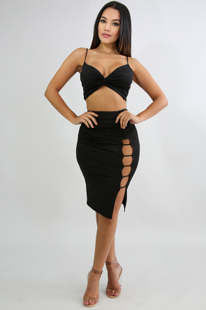 Scrunched Slit Ladder Skirt Set