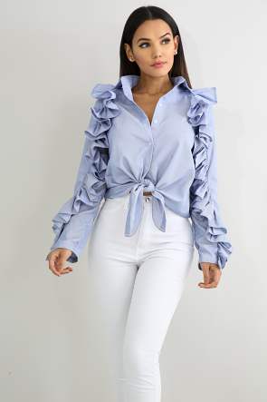 Pleated Self Tie Top