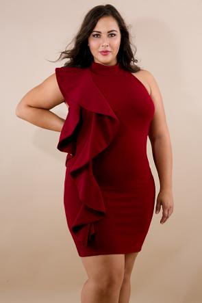 Swirl Flare Halter Body-Con Dress