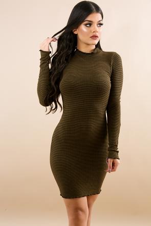 Mock Neck Rib Knit Body-Con Dress