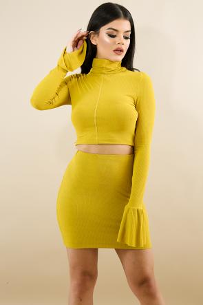 Scrunched Back Mini Skirt Set